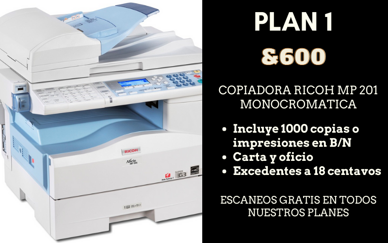 renta de copiadora ricoh mp 201 economica df